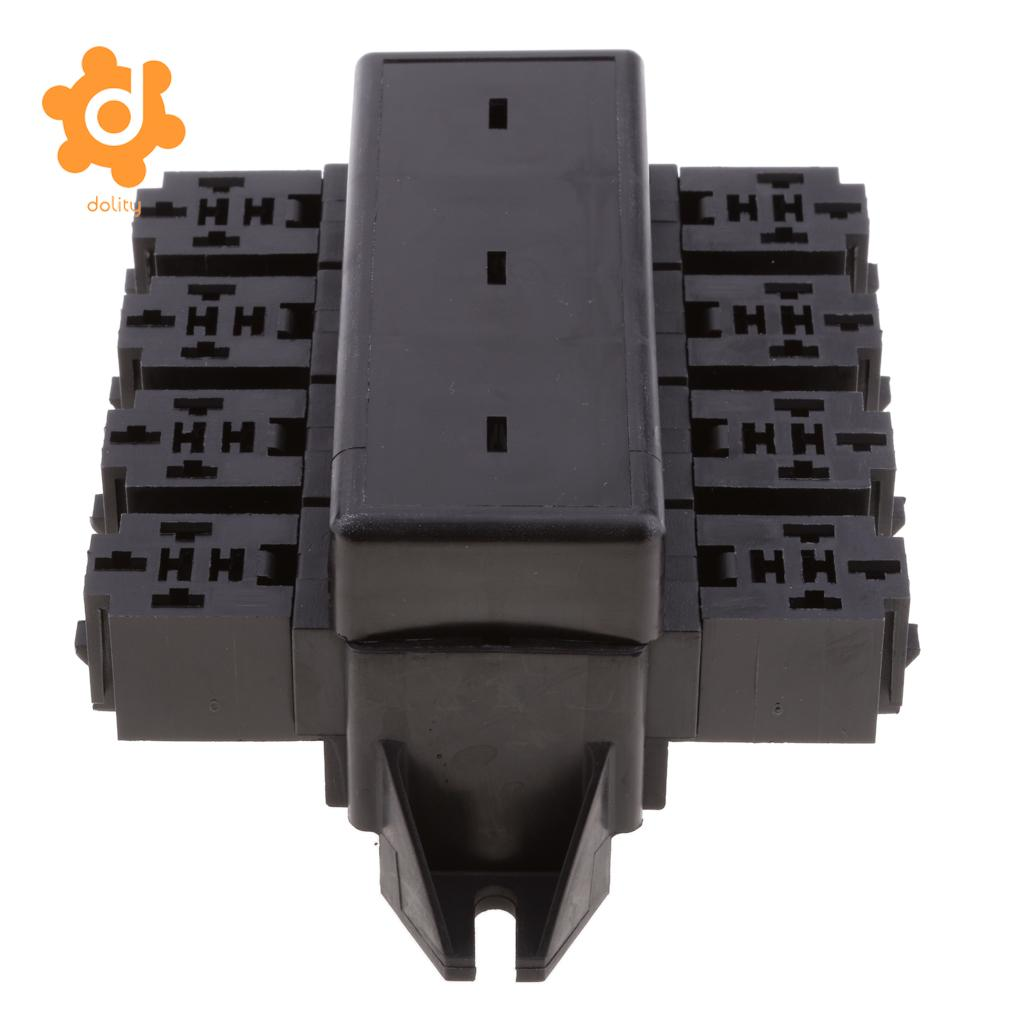 Car 20-Way Blade Fuse Holder 8-Way Relay Socket Fusebox Distribution Block 10 pcs 8 terminals relay socket holder for mk2p 1 jqx 10f