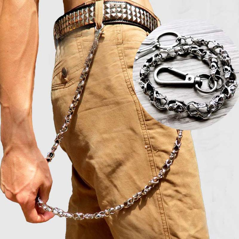 Hip hop Punk Men Ghost Chain Belt Waist Key Ring Male Pants Chain Jeans Punk Metal Pants Rock Clothing Accessories Jewelry baggy jeans mens short hip hop pants blue loose style dance skateboard jeans calf length pants for boy and men rapper