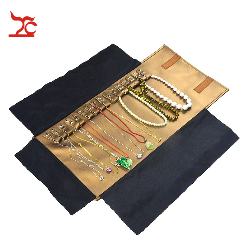 New Portable Brown Pendant Travel Roll Bag 16Pcs Necklace Organizer Display Pouch Necklace Bracelet Package  Gift Roll Bag