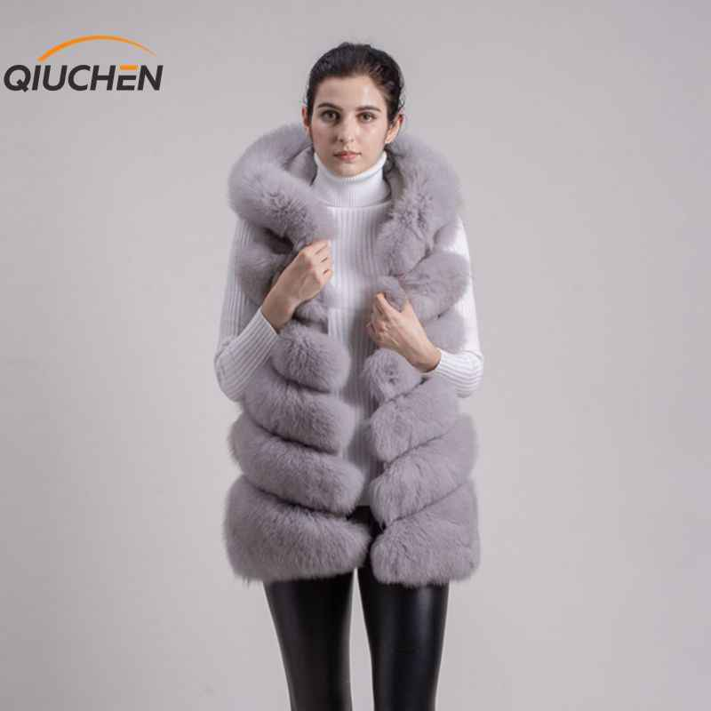 b1fe35205 QIUCHEN PJ8056 FREE SHIPPING New full pelt real fox fur hoodie vest high  quality thick fox fur gilet fashion girl's winter vest