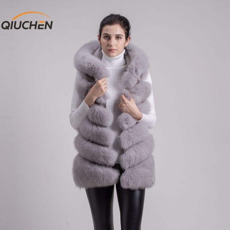 QIUCHEN PJ8056 LIVRAISON GRATUITE Nouvelle pleine pelt réel fourrure de renard à capuche gilet de haute qualité épaisse fourrure de renard gilet de mode fille d'hiver de gilet