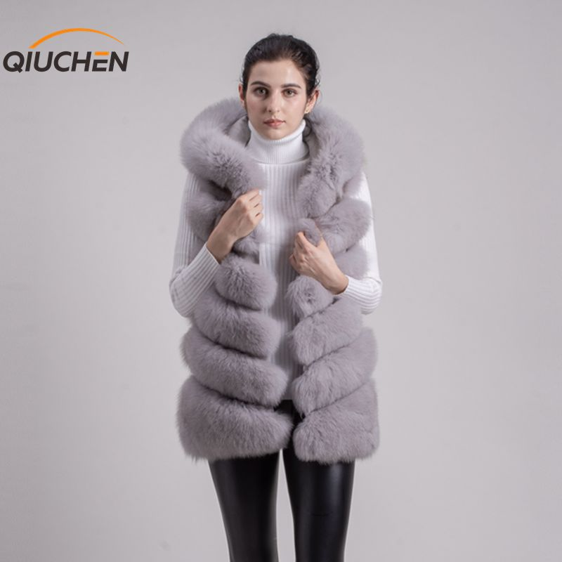 QIUCHEN PJ8056 di TRASPORTO LIBERO Nuovo full pelt reale della pelliccia di fox con cappuccio della maglia di alta qualità di spessore di volpe gilet di pelliccia di modo della ragazza maglia di inverno delle
