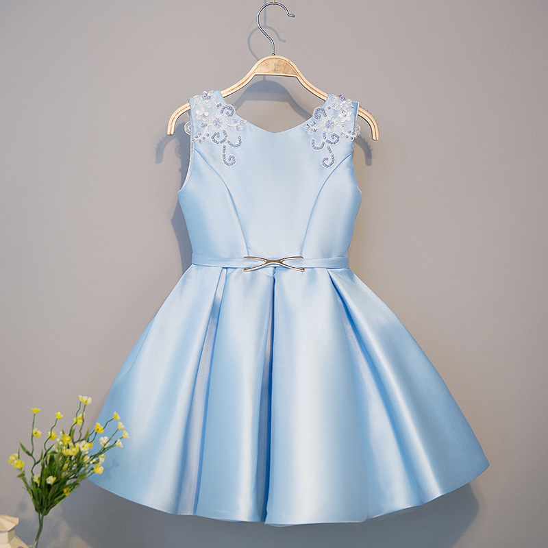 2-10T Satin Flower Girl Dresses Appliques Pleated Party Wedding Dress for Girls Kids V-neck Sleeveless Sweet Princess Dress fashionable v neck sleeveless pure color mini dress for women