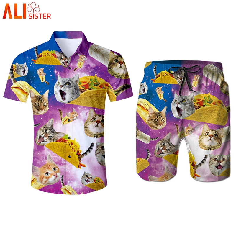 Alisister Pizza Cat Funny Tracksuit Mens 3d Shirts And Shorts Set Summer Kitty 2 Pieces Suits Male Moletom Masculino Dropship