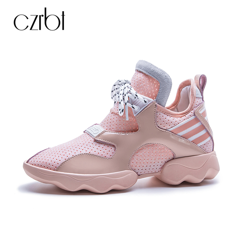 CZRBT New Spring Women Shoes Casual Flats Woman Fashion Platform Shoes Big Size Lace-Up Comfortable Height Increasing Shoes