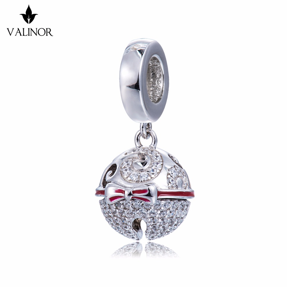 Video! Christmas Bells Genuine 925 Sterling Silver Charm Beads Fit Original Bracelet Necklace Authentic Jewelry DDBJ178 chic bells necklace