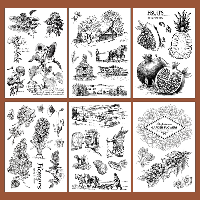 vintage plant clear stamps garden flowers scrapbooking stamp