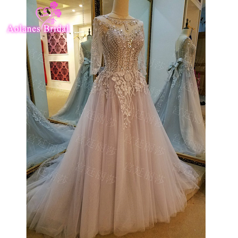 Elegant Gray   Evening     Dresses   A Line Beading Appliques Crystals 2017 New Court Train Scoop Floor Length Prom   Dresses   Real Photos