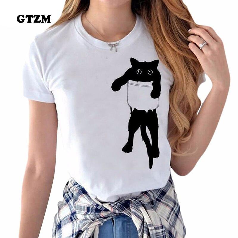 GTZM Women Clothes 2017 Harajuku Bts Style T Shirt Funny Cat Printed Tops White Cotton T-shirt Womens Ulzzang Clothing