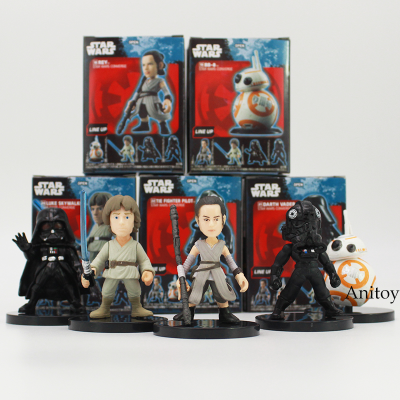 Star Wars Han Solo Death Trooper Luke Skywalker Chewbacca Rey BB-8 The Fighter Pilot PVC Figures Toys 5pcs/set 2~6cm 2 Styles 1pc building blocks star wars figures luke skywalker kanan han solo death trooper darth vader action bricks kids diy gift toys