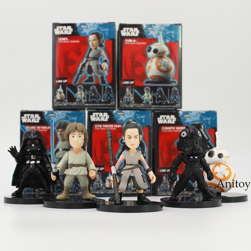 Star Wars Han Solo Death Trooper Luke Skywalker Chewbacca Rey BB-8 el piloto de combate PVC figuras juguetes 5 unids/set 2 ~ 6 cm 2 estilos