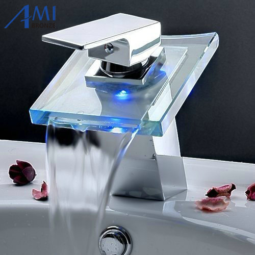 Bathroom Battery RGB LED light sink basin mixer tap chromed brass glass waterfall Faucet phasat 4905 modern chromed brass waterfall kitchen sink faucet water tap silver