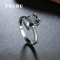 ZOURU Brand Hot New Large Square Colored CZ Stone Ring Weddings Handmade Engagement Women Jewelry Christmas Gift Free Shipping