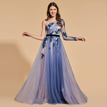 Tanpell Blue Prom Dress One-Shoulder Appliques Sashes Long Sleeves Beading Floor Length Lace A Line