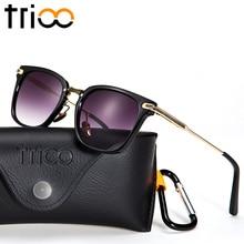 TRIOO Male Sunglasses Gold Metal Cool Sun Glasses For Men Fashion Brand Designer Shades Small Face Shape Frame Oculos Eyewear