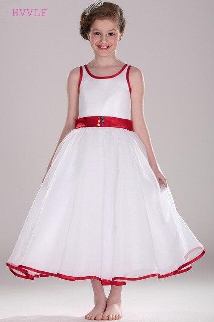 Red 2019 Flower Girl Dresses For Weddings A-line Ankle Length Tulle Long First Communion Dresses For Little Girls