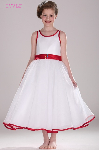 Red 2019   Flower     Girl     Dresses   For Weddings A-line Ankle Length Tulle Long First Communion   Dresses   For Little   Girls