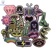 New 21 pcs/lot Cool Neon Style Suitcase Sticker Colorful LED Effect Mobile Phone Laptop Cartoon Graffiti Sticker(China)