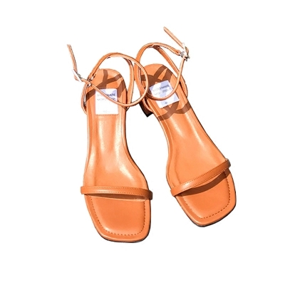 Summer New Korean Square Thick Heel Sandals Female Words With Open Toe With Wild Tape Roman shoes xczj sandals female 2018 summer new thick with bow tie lattice shoes korean students wild word buckle high heels