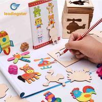 LeadingStar 52 pz Legno Pittura Schede Bambini Studio Strumento di Pittura Graffiti Colorazione Dipinta Pacchetto Di Puzzle Giocattoli Prima Educazione