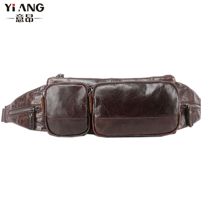 Mens Oil Wax Genuine Leather Cowhide Vintage Messenger Shoulder Back pack Sling Chest Bag Fashion wild Fanny Pack Wallet Bag ...
