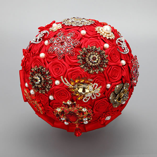Chinese Traditional Red Wedding Bouquets Bridal Bridesmaid