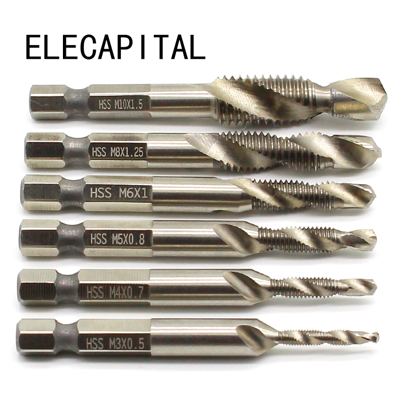 1/4'' Hex HSS High Speed Steel Thread Spiral Screw M3 M4 M5 M6 M8 M10 Metric Composite Tap Drill Bit Tap 6pcs/set 6pcs set m3 m10 metric composite tap drill bit thread spiral screw tap 1 4 hex hss drill bit