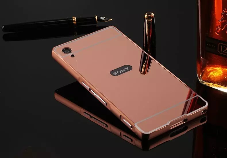 the best attitude 990c8 2ec85 US $3.69 |Fashion Luxury Rose Gold Mirror Case For Sony Xperia XA Case  F3111 F3113 F3115 shell Back Cover For Sony XA -in Fitted Cases from  Cellphones ...