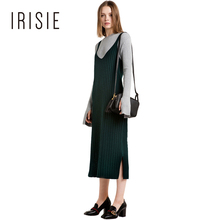 IRISIE Apparel Chic Sexy Women Sweater Dresses Green Side Split V-Neck Sleeveless Vestidos Casual Loose Cami Strap Midi Dress