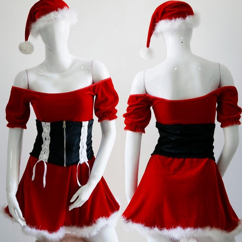 Little Red Hood Off Shoulder Christmas Dress Carnival Cosplay Red - Կարնավալային հագուստները - Լուսանկար 4