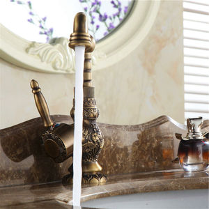 Image 4 - Basin Faucets Antique Brass Bathroom Faucet Grifo Lavabo Tap Rotate Single Handle Hot and Cold Water Mixer Taps Crane AL 9966F