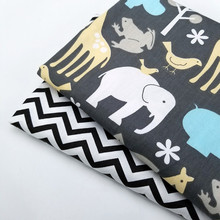 Dark Color Series Cotton Twill Fabric Animal/Stripe Printing DIY Patchwork Craft Cloth Material Handmade Textile
