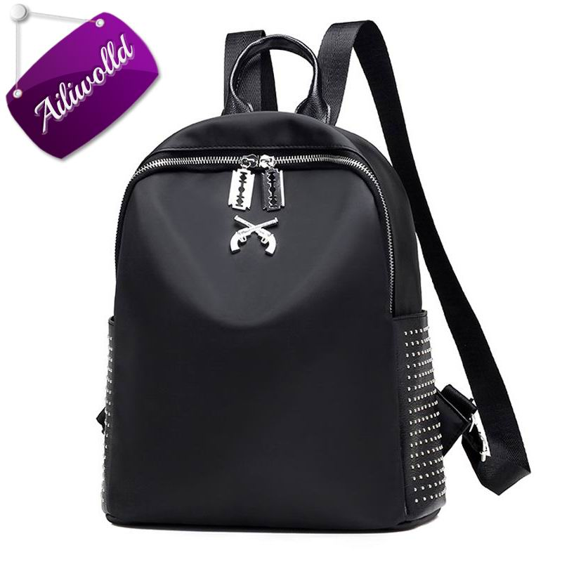 Women Backpacks Famous Brands Nylon Waterproof Rivet Backpack Pistol Bags Female School Bag For Teenagers Girls Travel Mochilas grade 7a hot sale brazilian virgin hair body wave wavy 27 honey blonde three bundles with silk lace closure
