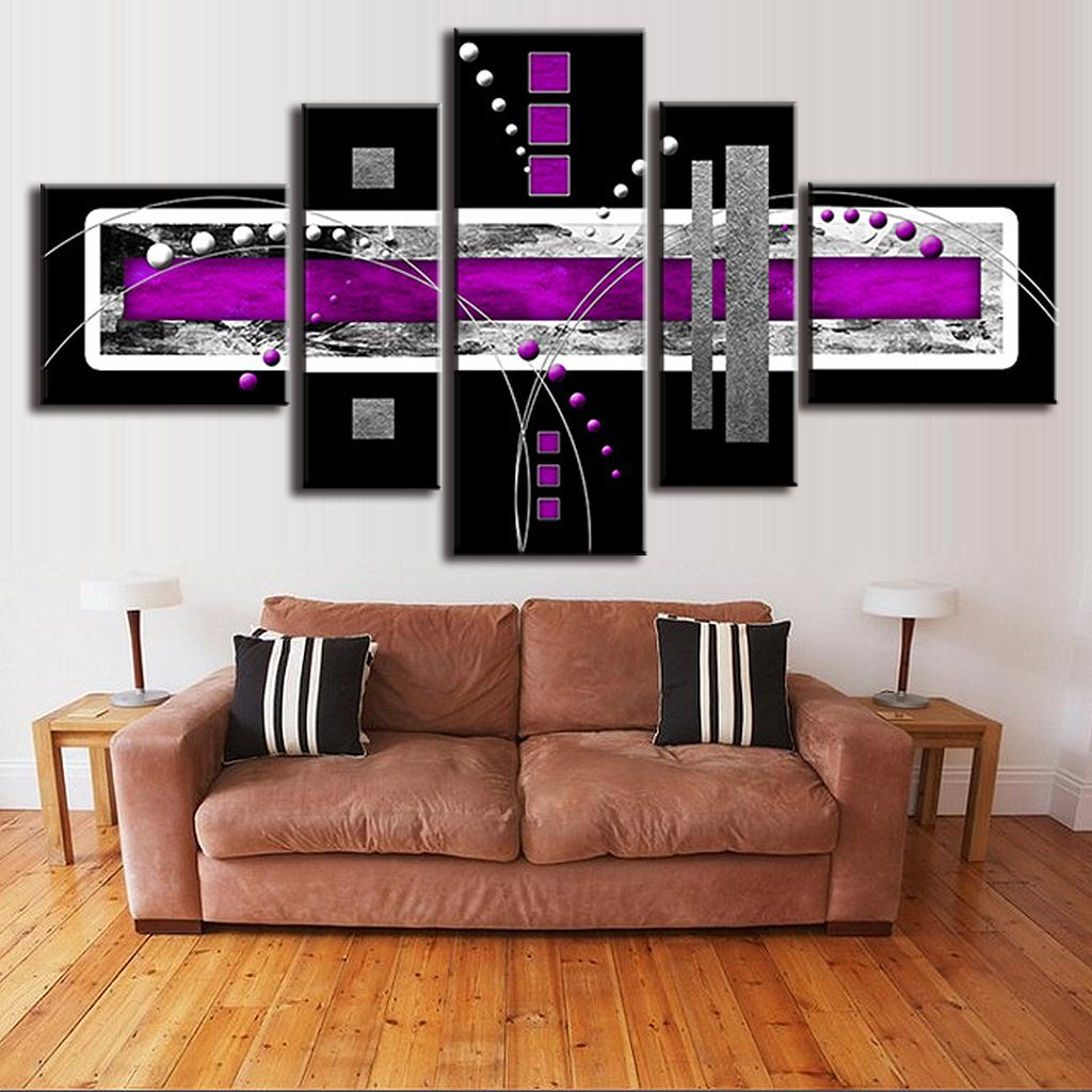 5 Pcs/Set Abstract Oil Painting Purple Black Grey Canvas Wall Art Picture  Canvas Combined Wall Art Top Home Decoration, In Painting U0026 Calligraphy  From Home ...