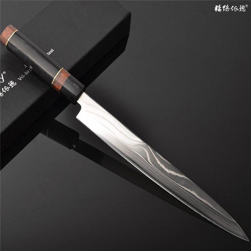 Sushi/Sahimi Knife Japanese style Yanagiba Damascus Hammered Blade on Core VG10 Slicing/Filleting/Cutting Fast Chef Knife 13.2.1