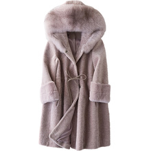 Женская одежда 2018 зимние Для женщин пальто лиса меховой воротник стрижки овец шуба натуральный мех шерстяной жакет с капюшоном топы с длинным корейский ZT302
