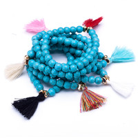 10pcs/lot Wholesale cheap natural stones beaded strand bracelets with random colors tassels for women hand charms accessories