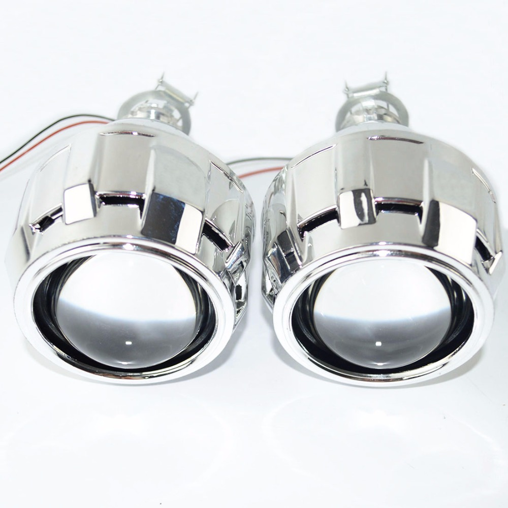 Safego 2pcs bixenon lens with Shroud 2.5inch projector lens for H4 H7 Bi xenon bi-xenon lens H1,H11,9005,9006 car hid headlight safego 2 5 inch projector lens mask shroud with double angel eyes for car hid headlight headlamp projector lens for h1 h7 h4