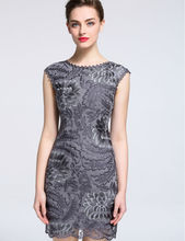 Gray Women Dress Flower Embroidery Sleeveless Sexy Mini Dresses A1156