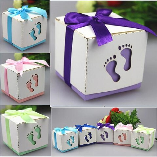 500Pcs Wholesale Wedding Candy Box Children Feet Shape Party Wedding Baby  Shower Favors Paper Gift Boxes
