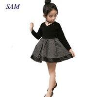 2017 Primavera e No Outono Nova moda Coreano meninas doce o-pescoço longo-manga cintura costura lindo vestido da princesa frete grátis