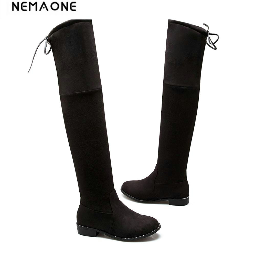 Women Stretch Boots Over Knee Boots Flat Lace Up Suede Leather Thigh High Boots Autumn Winter Shoes botas bootie