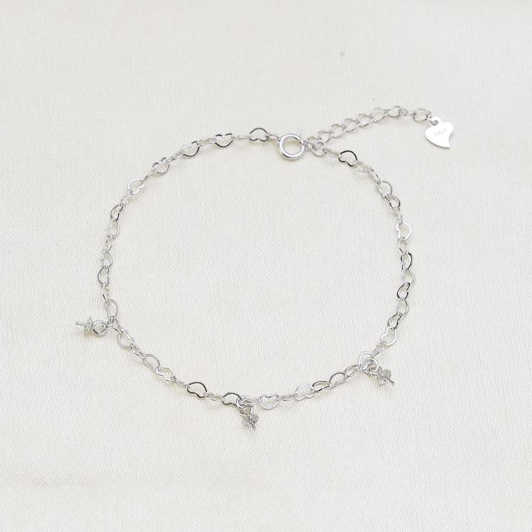 925 perła z polerowanego srebra bransoletka łańcuch ustalenia, moda bransoletka ustawienia części biżuterii akcesoria Charm akcesoria 2 kolor w Wykończenia i elementy biżuterii od Biżuteria i akcesoria na  Grupa 1