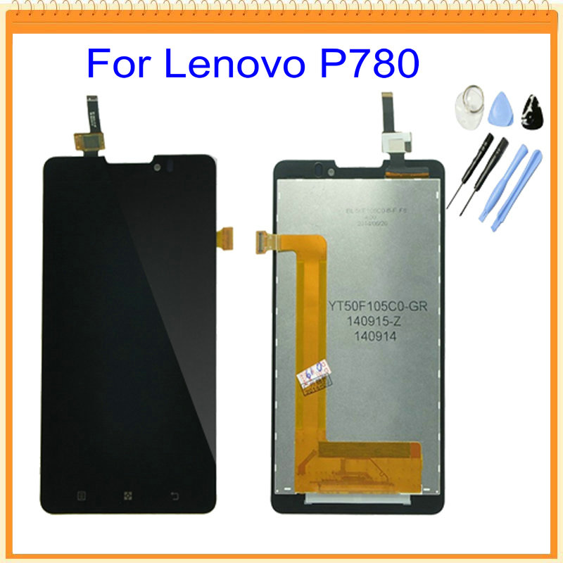 For Lenovo P780 LCD Display with Touch Screen Digitizer Assembly with Logo Tool kits Black Colors