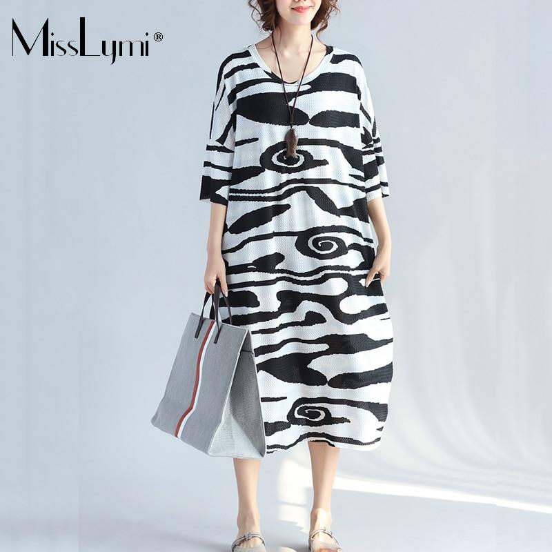 MissLymi XXL 4XL Plus Size Women Long Dress 2017 Summer Short Sleeve stripe  Print Casual Loose Big Size Retro Beach Summer Dress-in Dresses from Women s  ... 53624a8c0398