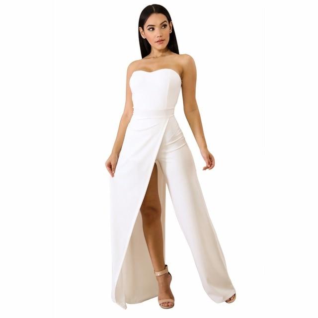 8d6351ee7d3 2018 New Fashion Summer Ladies Sexy Black White Asymmetric Split Leg  Strapless Jumpsuit Elegant Playsuits Rompers