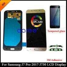 Test AMOLED Samsung J7 Pro 2017 J730 LCD ekran Samsung J7 2017 J730F LCD Ekran dokunmatik sayısallaştırıcı tertibatı + Yapıştırıcı