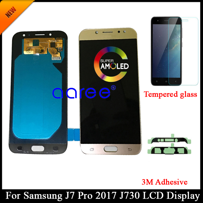 Tested AMOLED For Samsung J7 Pro 2017 J730 LCD Display For Samsung J7 2017 J730F LCD Screen Touch Digitizer Assembly + Adhesive(China)