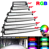 14 INCH 22 32 42 50 52 Led Curved/Straight Work Light Bar Off road Driving RGB Multi Color Change Strobe + Wiring Kit APP