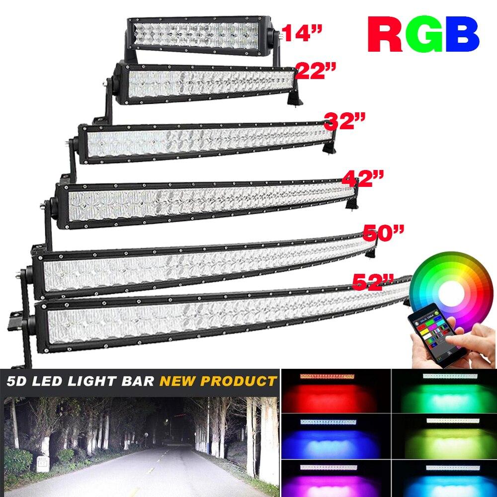 14 POUCES 22 32 42 50 52 led Courbe/Droite barre lumineuse de travail Off- route Conduite RGB Multi-Couleur Changement Stroboscopique + kit de câblage APP